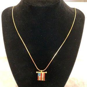 American flag necklace. Vintage rhinestones